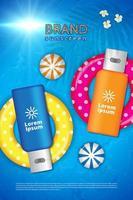 poster di crema solare con ringa per nuotare e palloni da spiaggia