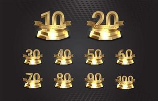 numeri di anniversario d'oro sul podio con effetto luminoso