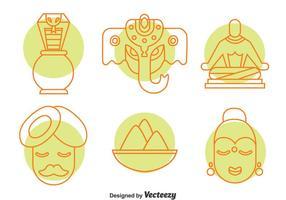 Insieme di vettore delle icone dell'elemento della cultura dell'India