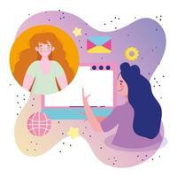 giovani donne in una conferenza online vettore