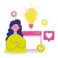 giovane donna con lo schermo di un computer