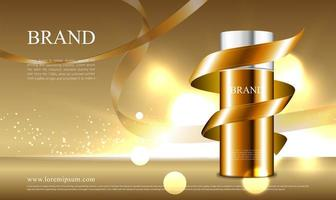 concetto di nastro dorato per la pubblicità di cosmetici