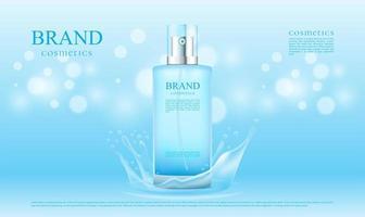spruzzi d'acqua blu per la pubblicità di prodotti cosmetici