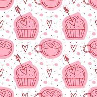 muffin, frecce e tazze con i cuori
