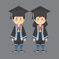 personaggi che indossano abiti da laurea vettore
