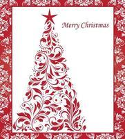cartolina di Natale vintage con disegno floreale ornato