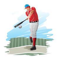 giocatore di baseball che oscilla al baseball vettore