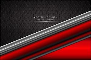 metallo ad angolo rosso e argento su motivo poligonale vettore