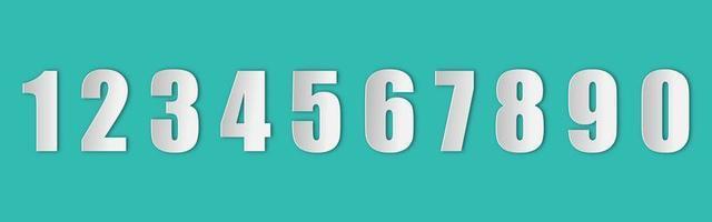 serie di numeri in stile carta con un'ombra realistica vettore