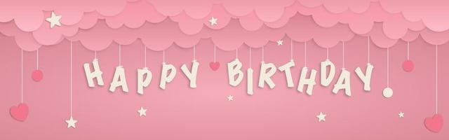 buon compleanno appendere lettere e forme banner arte carta