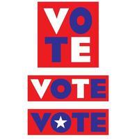 testo di voto rosso, bianco e blu nelle caselle vettore