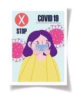 fermare il modello di poster di diffusione del coronavirus