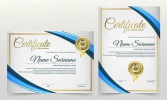 certificato orizzontale e verticale impostato in bianco e blu