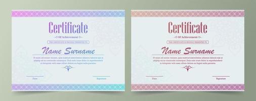 set certificato bordo ornamentale gradiente luminoso