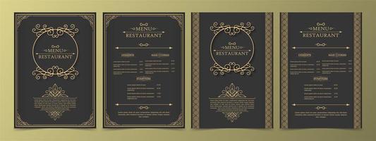 menu impostato con elementi ornamentali e cornici