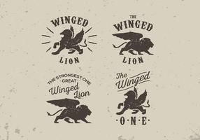 Pacchetto di vettore di lettering etichetta stile vintage vecchio leone alato