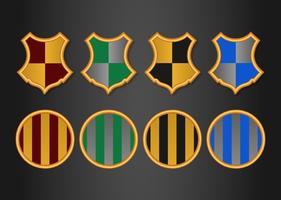 Set di stemmi e stemmi colorati a tema guidata vettore