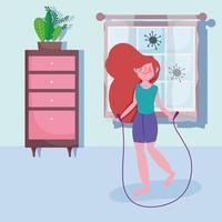 giovane ragazza saltare la corda e fare esercizio a casa