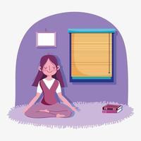 giovane ragazza meditando a casa