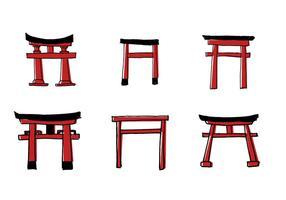 insieme di vettore di scarabocchio torii