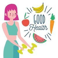 donna con manubri e cibo sano vettore