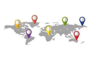 puntini mappa del mondo con perni vettore