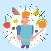 uomo con frutti tropicali sani vettore