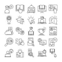 collezione di icone di pittogramma contorno formazione a distanza online