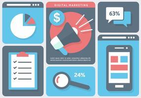 Illustrazione di vettore di affari di marketing digitale gratis