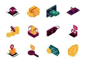set di icone isometriche di shopping e commercio online vettore