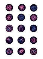 pacchetto di icone in stile neon di malattie virali