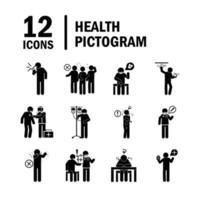 pittogramma di assistenza sanitaria e raccolta di icone mediche