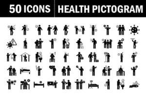 pittogramma di assistenza sanitaria e set di icone mediche vettore