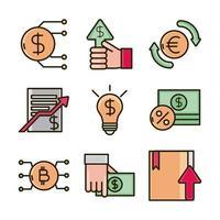 linea di attività economica e di investimento e assortimento di icone di colore di riempimento