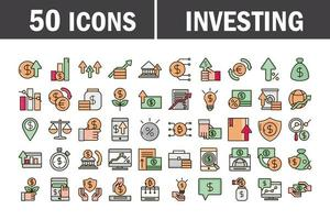 linea di business economica e di investimento e pacchetto di icone di colore di riempimento vettore