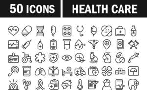 collezione di icone pittogramma linea di assistenza sanitaria vettore