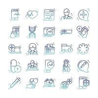 pacchetto di icone di assistenza sanitaria e assistenza medica online in stile sfumato