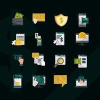 icona di stile piatto di pagamento e finanze online impostata su sfondo nero vettore