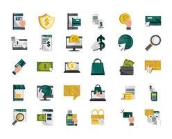 set di icone in stile piatto di pagamento online e finanze