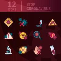 raccolta di icone di controllo del coronavirus e delle infezioni virali su sfondo scuro