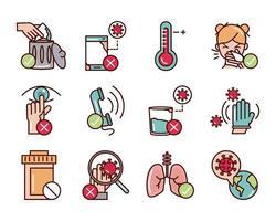 covid-19 linea di prevenzione e riempimento, pacchetto di icone colorate