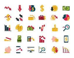 set di icone di mercato azionario e crisi economica