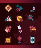 icona di controllo del coronavirus e delle infezioni virali impostata su sfondo scuro