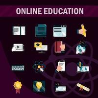 collezione di icone in stile piatto di formazione online su sfondo scuro