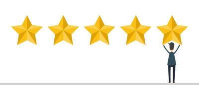 uomo d'affari in tuta dare una recensione di 5 stelle