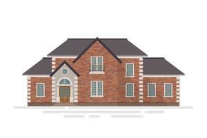 casa di mattoni suburbana isolata vettore