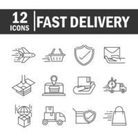 consegna espressa e raccolta di icone pittogramma linea logistica vettore