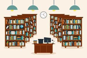 interno della biblioteca con libri vettore