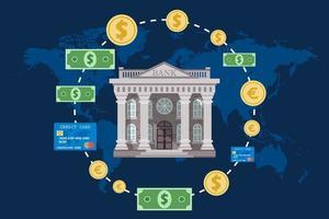 concetto bancario con mappa del mondo vettore