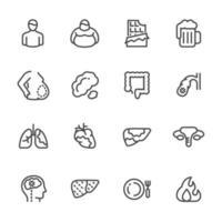 set di icone pittogramma grasso addominale vettore